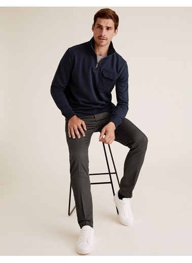Marks & Spencer Slim Fit Chino Pantolon Gri
